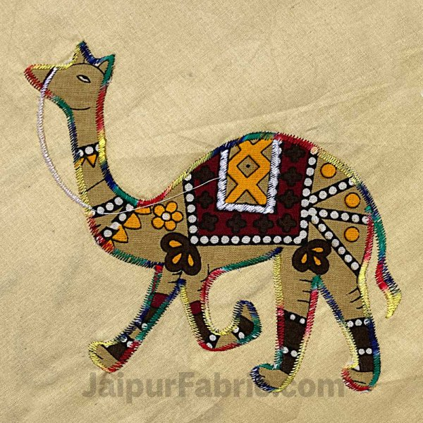 Applique Cream Camel Jaipuri  Hand Made Embroidery Patch Work Double Bedsheet