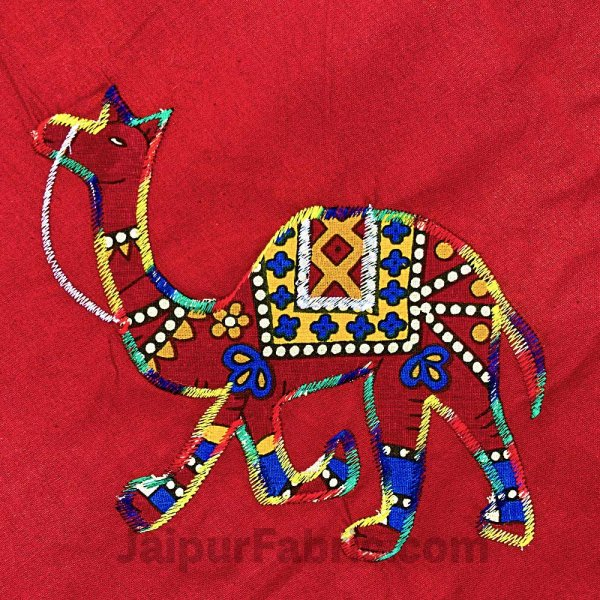 Applique Red Camel Jaipuri  Hand Made Embroidery Patch Work Double Bedsheet