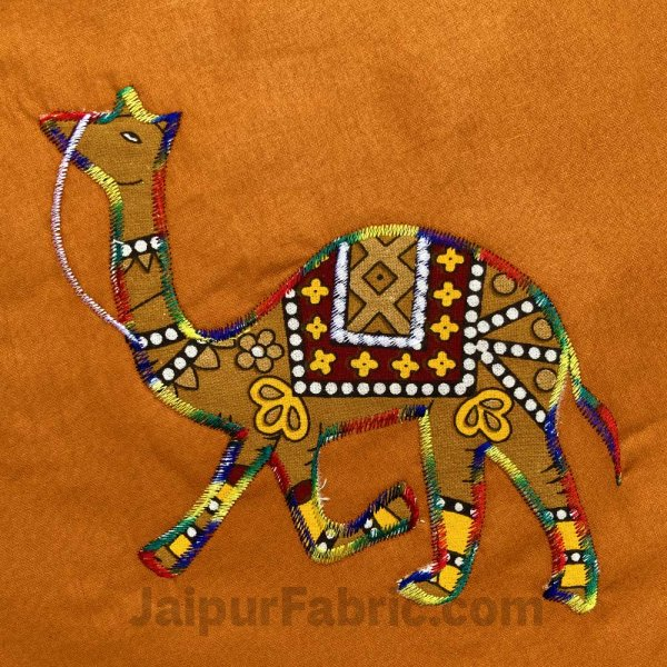 Applique Mustard Camel Jaipuri  Hand Made Embroidery Patch Work Double Bedsheet