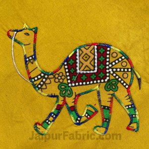 Applique Mehandi Green Camel Jaipuri  Hand Made Embroidery Patch Work Double Bedsheet