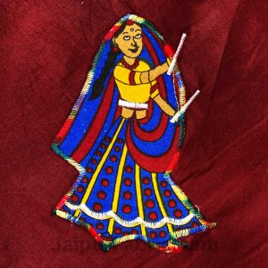 Applique Maroon Dandiya Jaipuri  Hand Made Embroidery Patch Work Double Bedsheet
