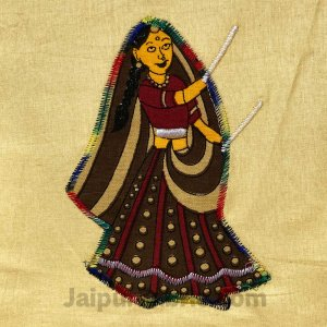 Applique Cream Dandiya Jaipuri  Hand Made Embroidery Patch Work Double Bedsheet