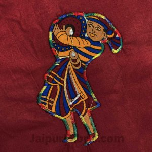 Applique Maroon Chang Dance Jaipuri  Hand Made Embroidery Patch Work Double Bedsheet