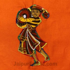 Applique Orange Chang Dance Jaipuri  Hand Made Embroidery Patch Work Double Bedsheet