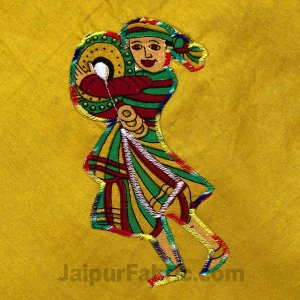 Applique Mehandi Green Chang Dance Jaipuri  Hand Made Embroidery Patch Work Double Bedsheet