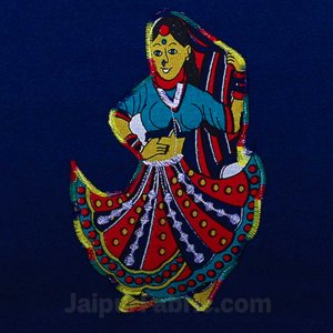 Applique Blue Rajasthani Dance Jaipuri  Hand Made Embroidery Patch Work Double Bedsheet