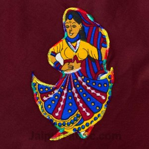 Applique Maroon Rajasthani Dance Jaipuri  Hand Made Embroidery Patch Work Double Bedsheet