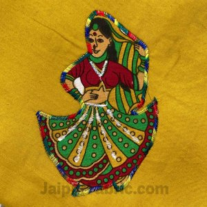 Applique Mehandi Green Rajasthani Dance Jaipuri  Hand Made Embroidery Patch Work Double Bedsheet