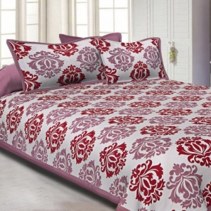 White Base Maroon Designer Cotton Double Bed Sheet