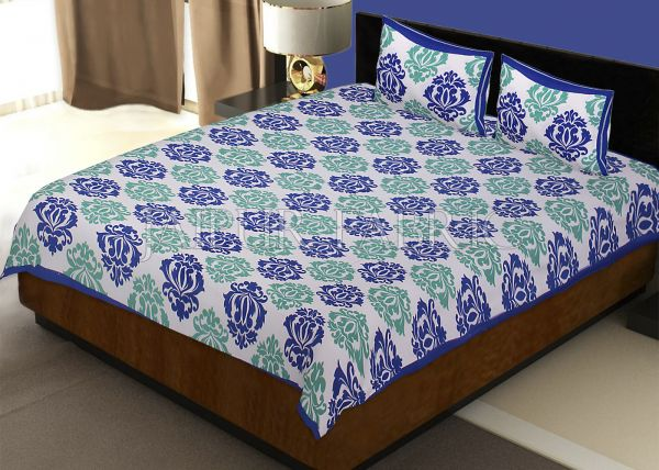 White Base Blue Designer Cotton Double Bed Sheet
