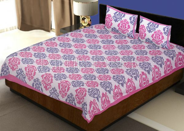 White Base Pink Designer Cotton Double Bed Sheet