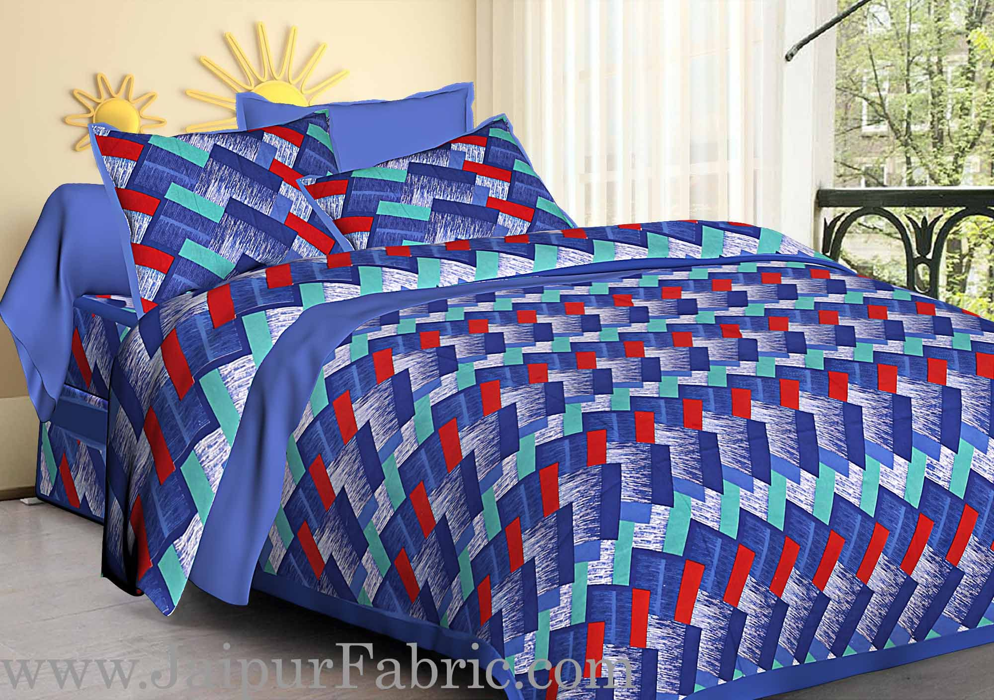 Blue  Border Zig-Zag Pattern Cotton Satin Double Bed Sheet