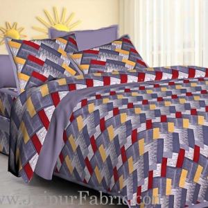 Gray  Border Zig-Zag Pattern Cotton Satin Double Bed Sheet