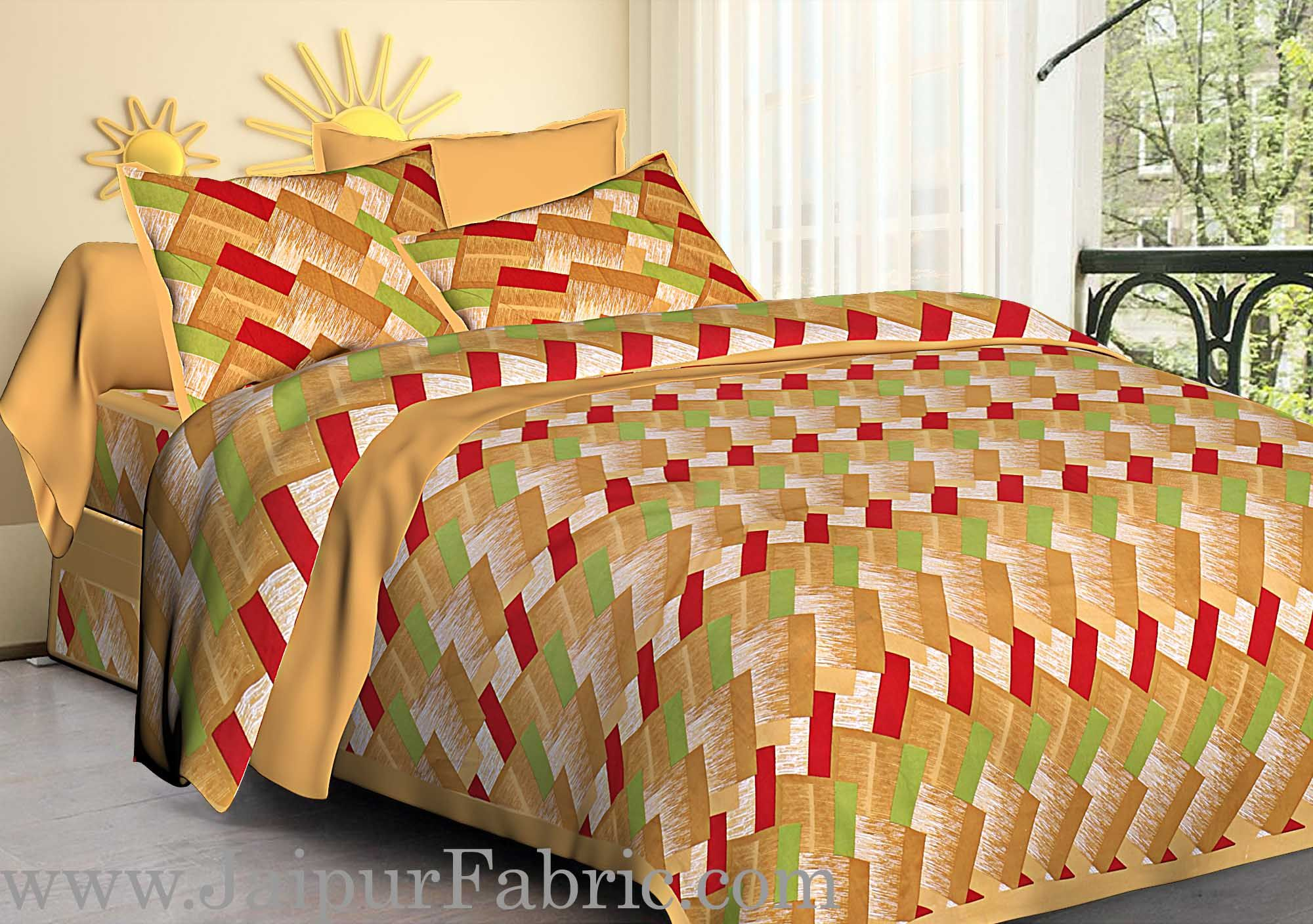 Mustard  Border Zig-Zag Pattern Cotton Satin Double Bed Sheet