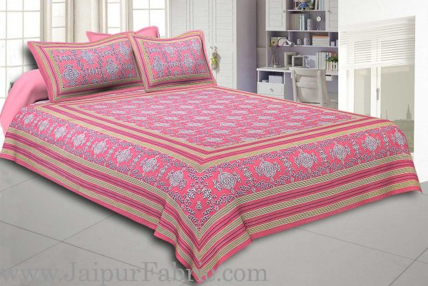 Pink Border Pink Base Mandana Print Cotton Double Bed Sheet