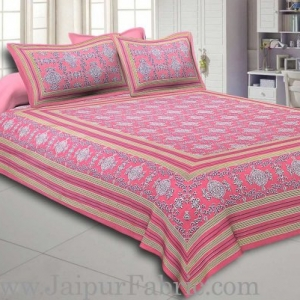 Pink Border Pink Base Mandana Print Cotton Double Bed Sheet