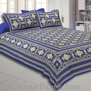 Blue Border Blue Base Mandana Print Cotton Double Bed Sheet