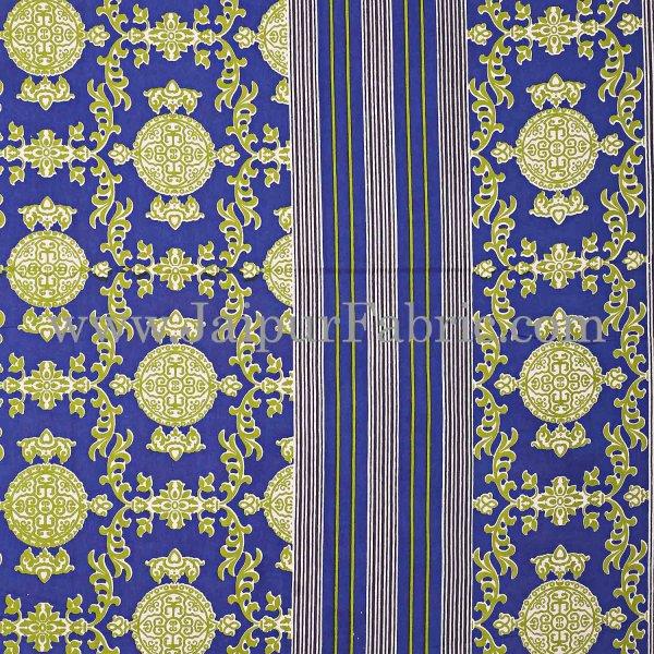 Blue Border Pink Base Mandana Print Cotton Double Bed Sheet
