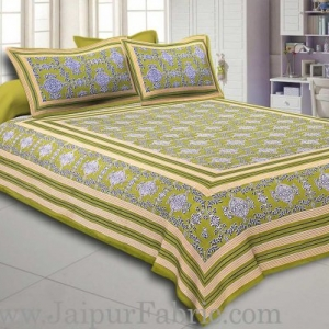 Green  Border Pink Base Mandana Print Cotton Double Bed Sheet