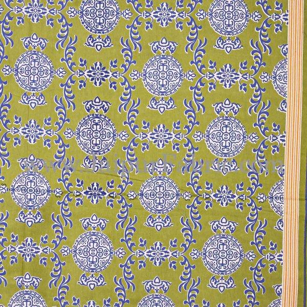 Green  Border Pink Base Mandana Print Cotton Double Bed Sheet