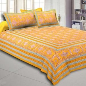 Yellow  Border Pink Base Mandana Print Cotton Double Bed Sheet