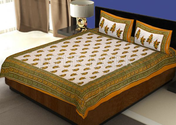 Yellow Border Rajasthani Bel Design Cotton Double Bed Sheet