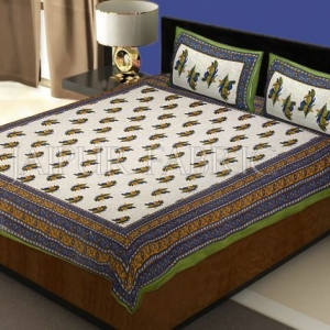 Green Border Rajasthani Bel Design Cotton Double Bed Sheet