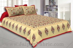 Maroon Border Tropical keri Design Cotton Double Bed Sheet