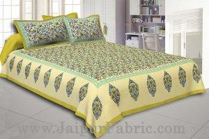 Green Border Tropical keri Design Cotton Double Bed Sheet
