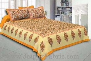 Yellow Border Tropical keri Design Cotton Double Bed Sheet