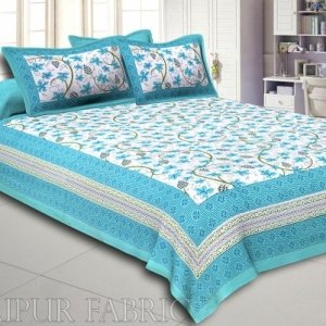 Light Sea Green  Border Grapes Pattern Screen Print Cotton Double Bed Sheet