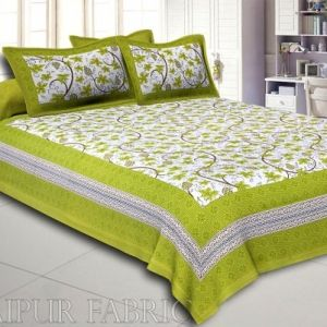 Green  Border Grapes Pattern Screen Print Cotton Double Bed Sheet