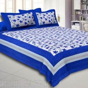 Royal Blue Border Grapes Pattern Screen Print Cotton Double Bed Sheet