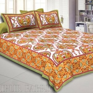 Green Border Multi Color Floral Pattern Screen Print Cotton Double Bed Sheet
