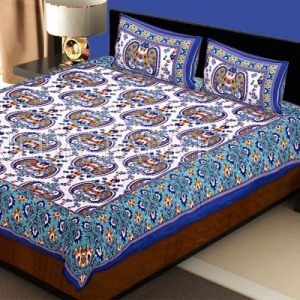 Blue Keri and Floral Print Cotton Double Bed Sheet