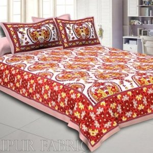 Pink Border Multi Color Floral Pattern Screen Print Cotton Double Bed Sheet