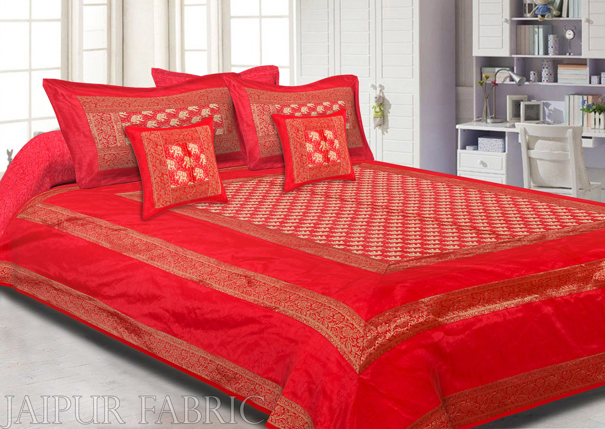 Radish Orange Rajasthani Zari Embroidered Lace Work Silk Double Bedsheet