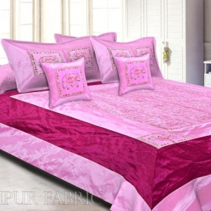 Pink And Maroon Elephant Mirror Work Thread Work and Rajasthani Zari Work  Double Bedsheet