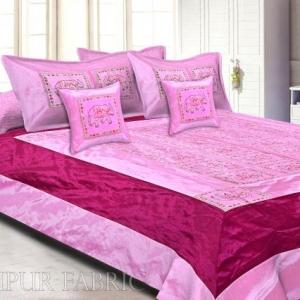 Pink And Maroon Elephant Mirror Work Thread Work and Rajasthani Zari Work  Double Bedsheet