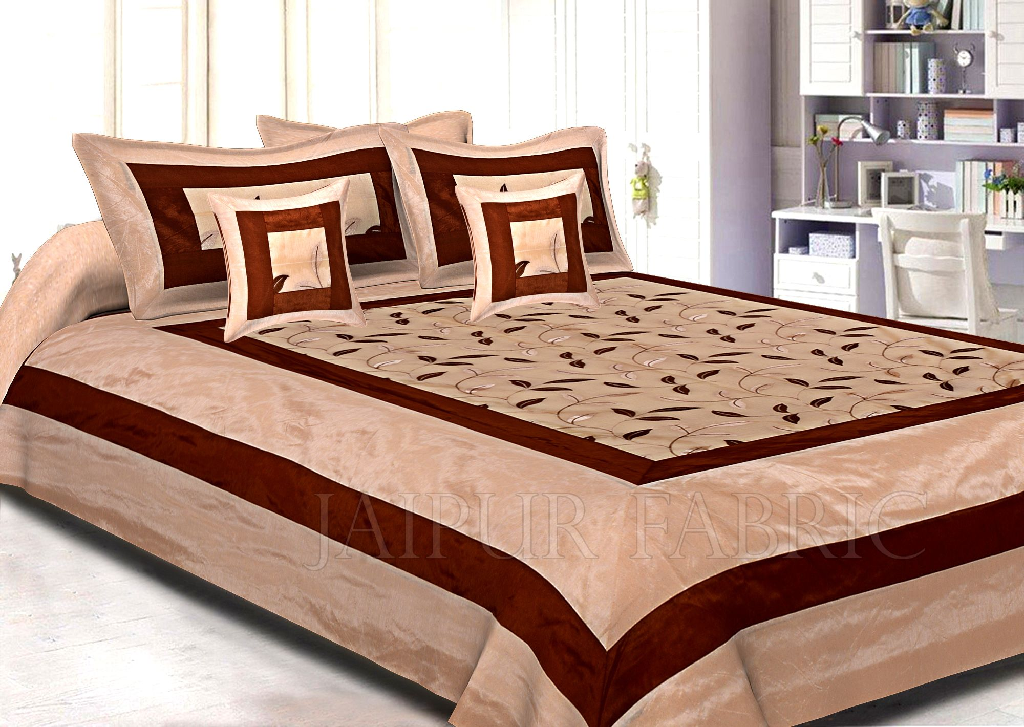 Light Brown Base Double Layerd Silk And Tissue Shinig Fabric With Embrodary Double Bedsheet
