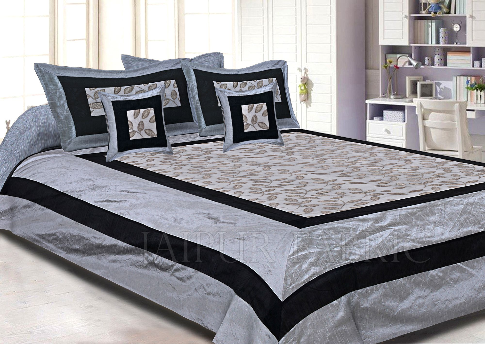Light Grey Base And Black Border  Double Layered Silk And Tissue Shining Fabric With Computer Embroidery by Silvery Shining Thread Double Bedsheet