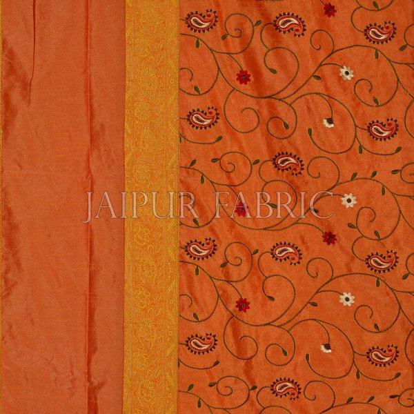 Orangish Yellow  Base With Zari  Border Silk Computer Embroidery  And Silk  Double Bedsheet