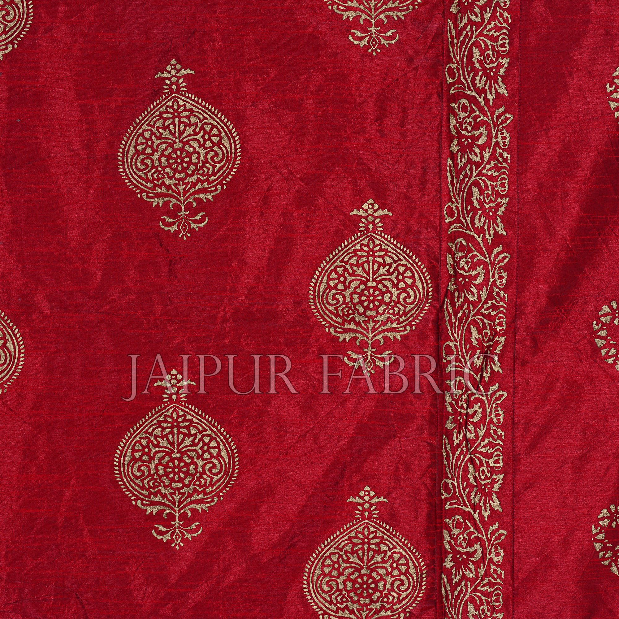 Maroon Base Khadi  Print Hand Block Work Silk Double  Bedsheet