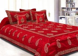 Maroon Base Khadi  Print Hand Block Work Silk Double  Bedsheet