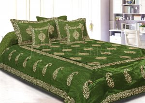 Mahendi Green Base Khadi Print Hand Work Silk Double Bedseet