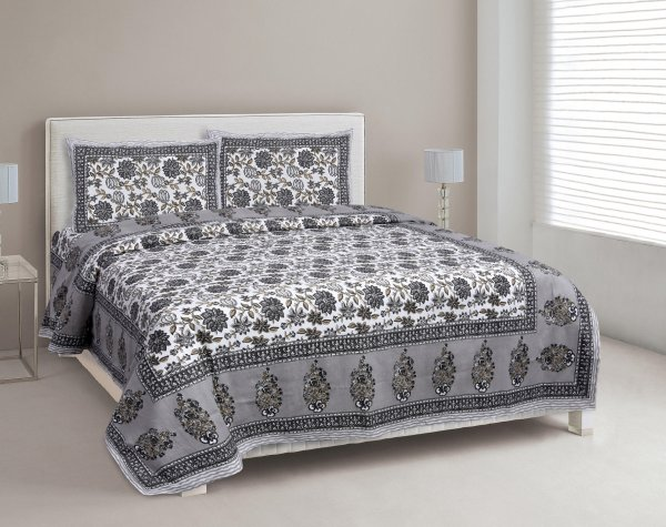 Stone Grey Floral Carnival Double Bedsheet