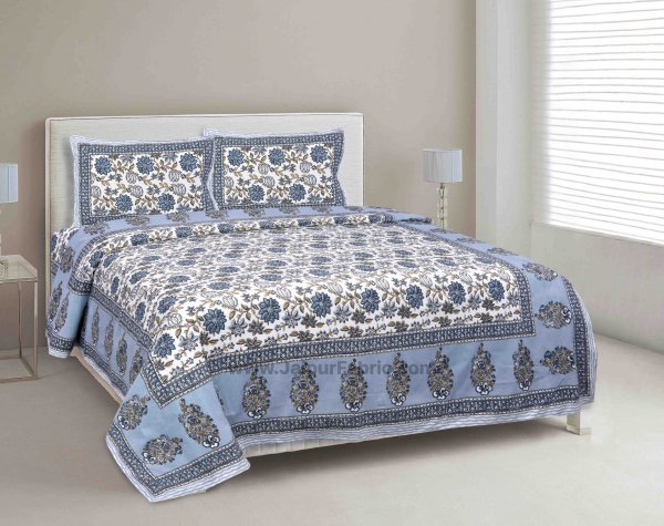 Aqua Grey Floral Carnival Double Bedsheet