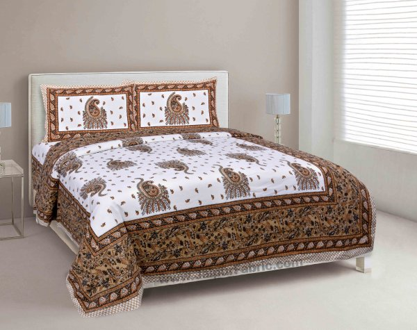 Brown Pageant Paisley Double Bedsheet