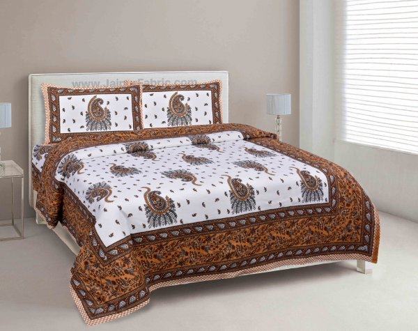 Orange Pageant Paisley Double Bedsheet
