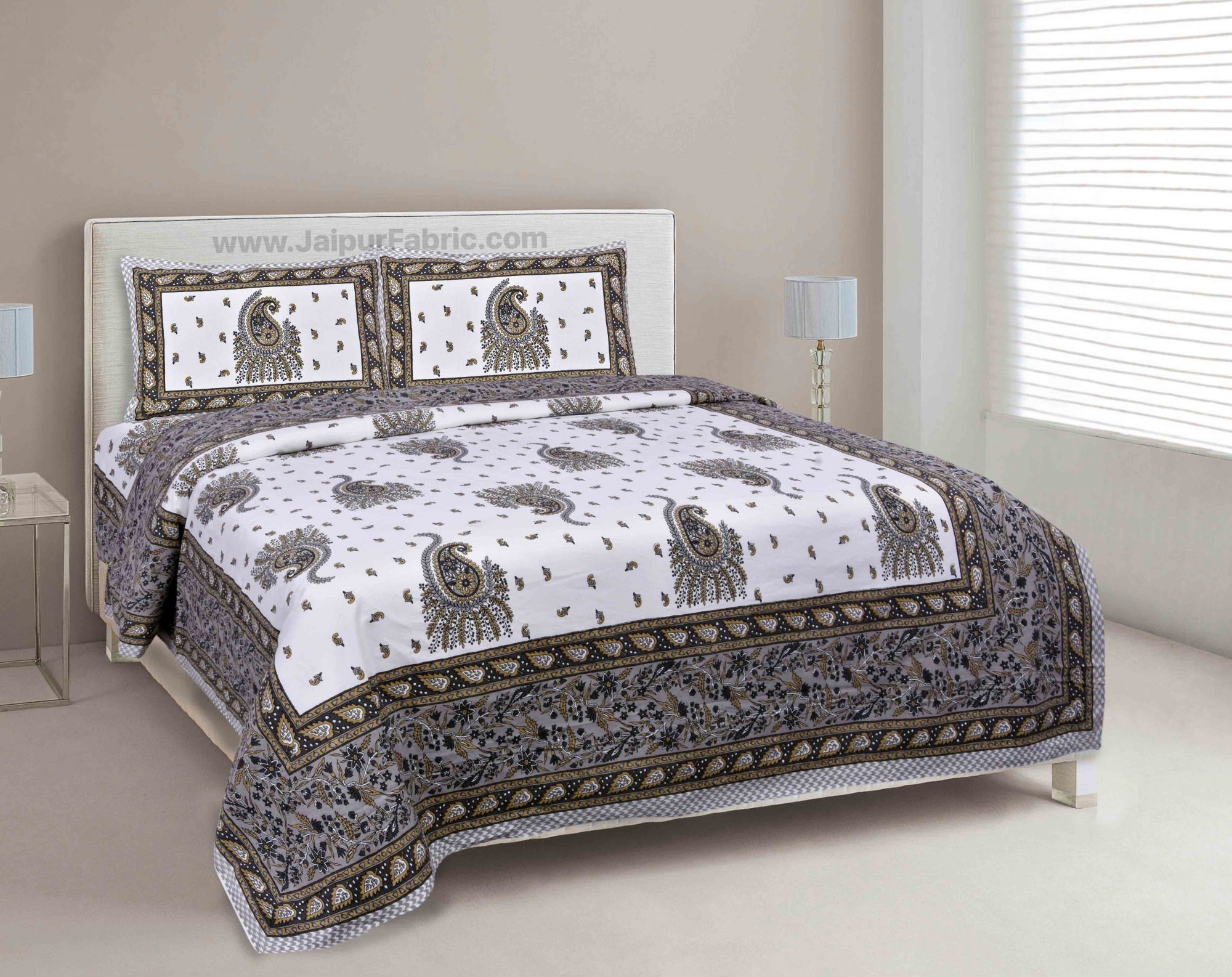 Grey Pageant Paisley Double Bedsheet